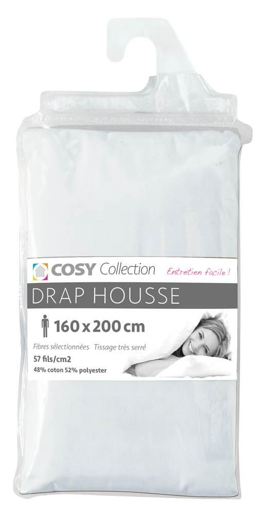 draps housse unis 160x200 cm entretien facile polycoton 57 fils. Black Bedroom Furniture Sets. Home Design Ideas