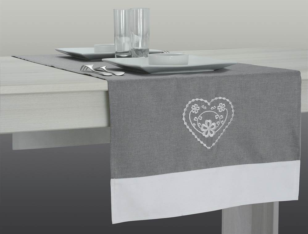 Chemin de table brod for Chemin de table gris