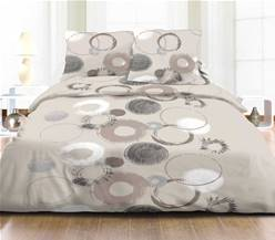 Housse de couette 220x240 + 2 taies <BR>Pur coton 57 fils <BR>CHRISTIANA TAUPE
