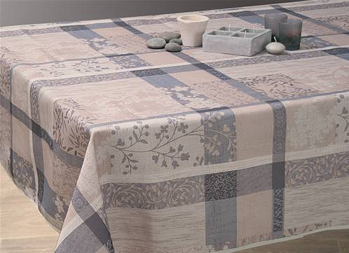Nappes anti taches<BR>Jacquard taupe