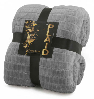 Plaid Sherpa 130x170<BR>GRIS