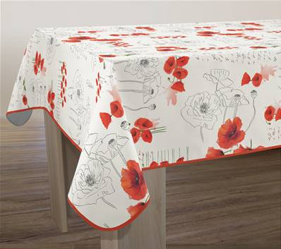 Nappe anti-taches <BR> Poppies rouge