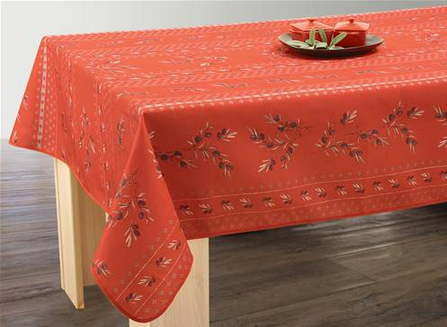 Nappe anti taches<BR>Olivettes rouge