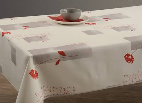 Nappes anti taches<BR>Coquelicot blanc