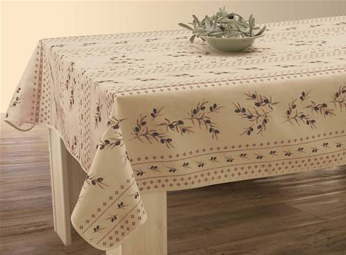 Nappe anti taches<BR>Olivettes beige