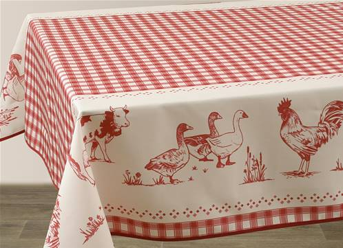 Nappes anti taches<BR>Ferme rouge