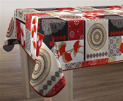 Nappe anti-taches <BR>Patchwork rouge