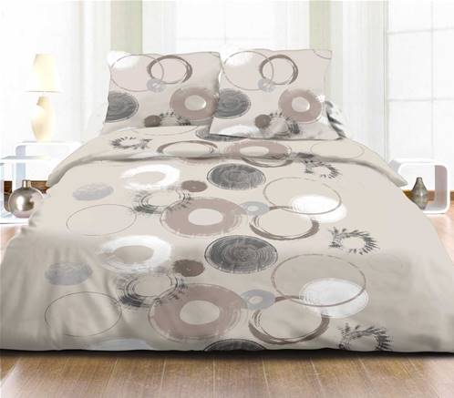 Housse de couette 240x260 + 2 taies <BR>Pur coton 57 fils <BR>CHRISTIANA TAUPE