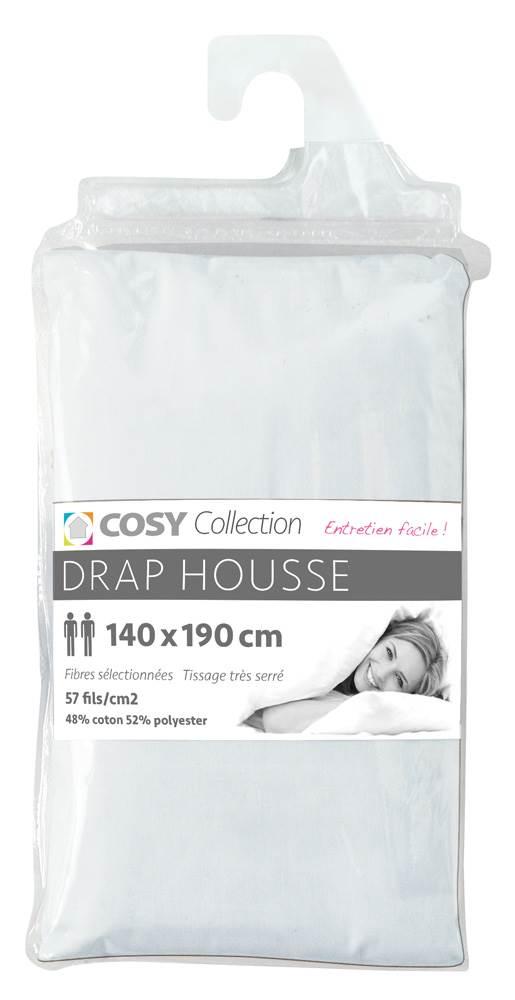 draps housse unis 140x190 cm entretien facile polycoton 57 fils. Black Bedroom Furniture Sets. Home Design Ideas